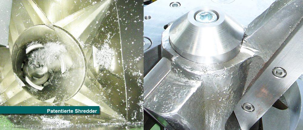 Shredder Schredder Schreder Späne Metallteile Kunststoff zerkleinerern Zerkleinerer Spyra Spänebrecher Stahlspäne Kopie